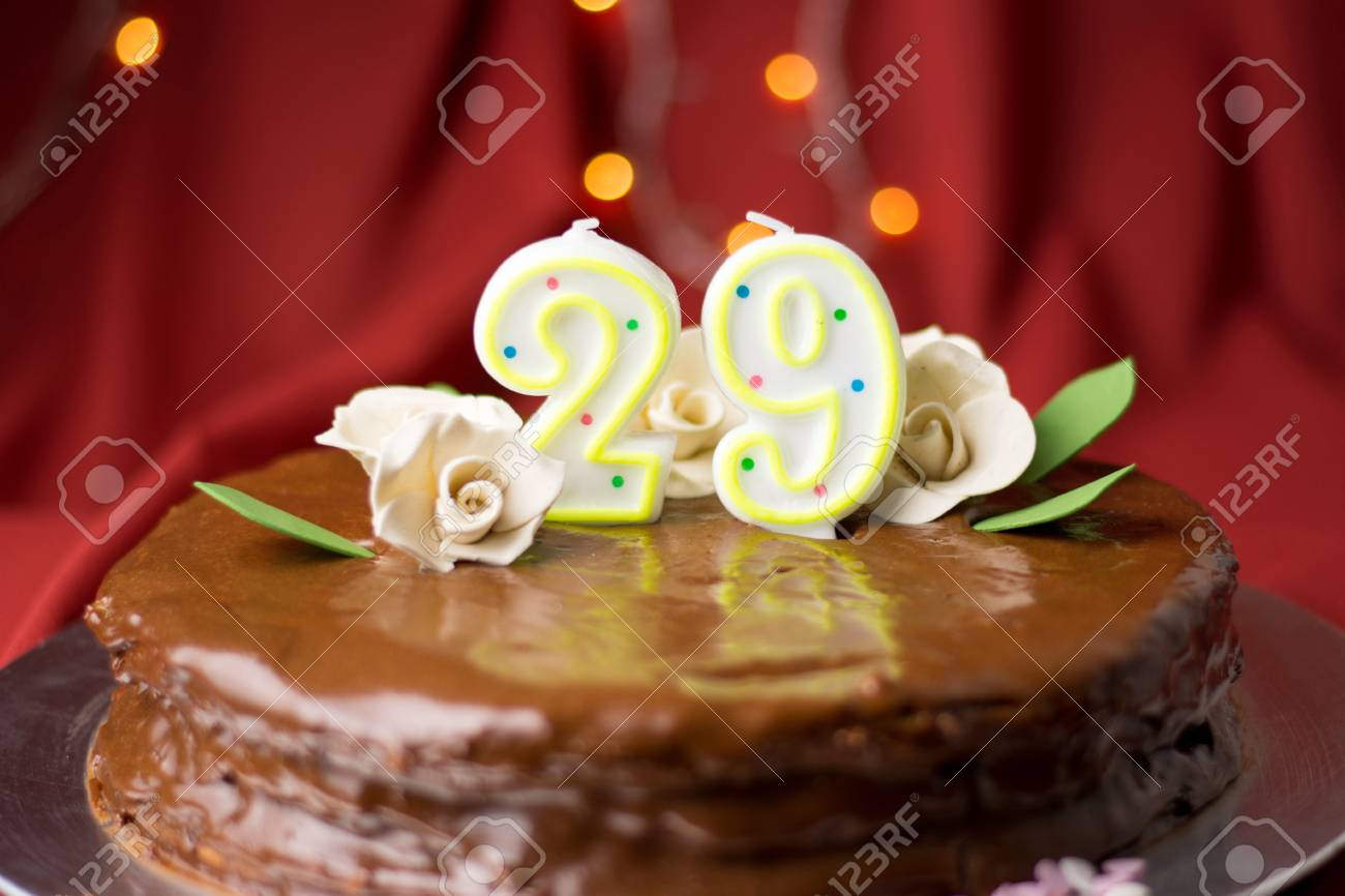 Fantastic 29Th Birthday Cake Decorated With Edible White Roses Stock Photo Personalised Birthday Cards Arneslily Jamesorg