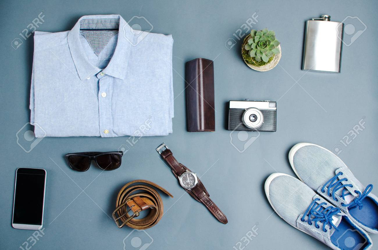 a4e56abb88ae0 Male clothes and fashion accessories on blue background flatlay Stock Photo  - 74041894