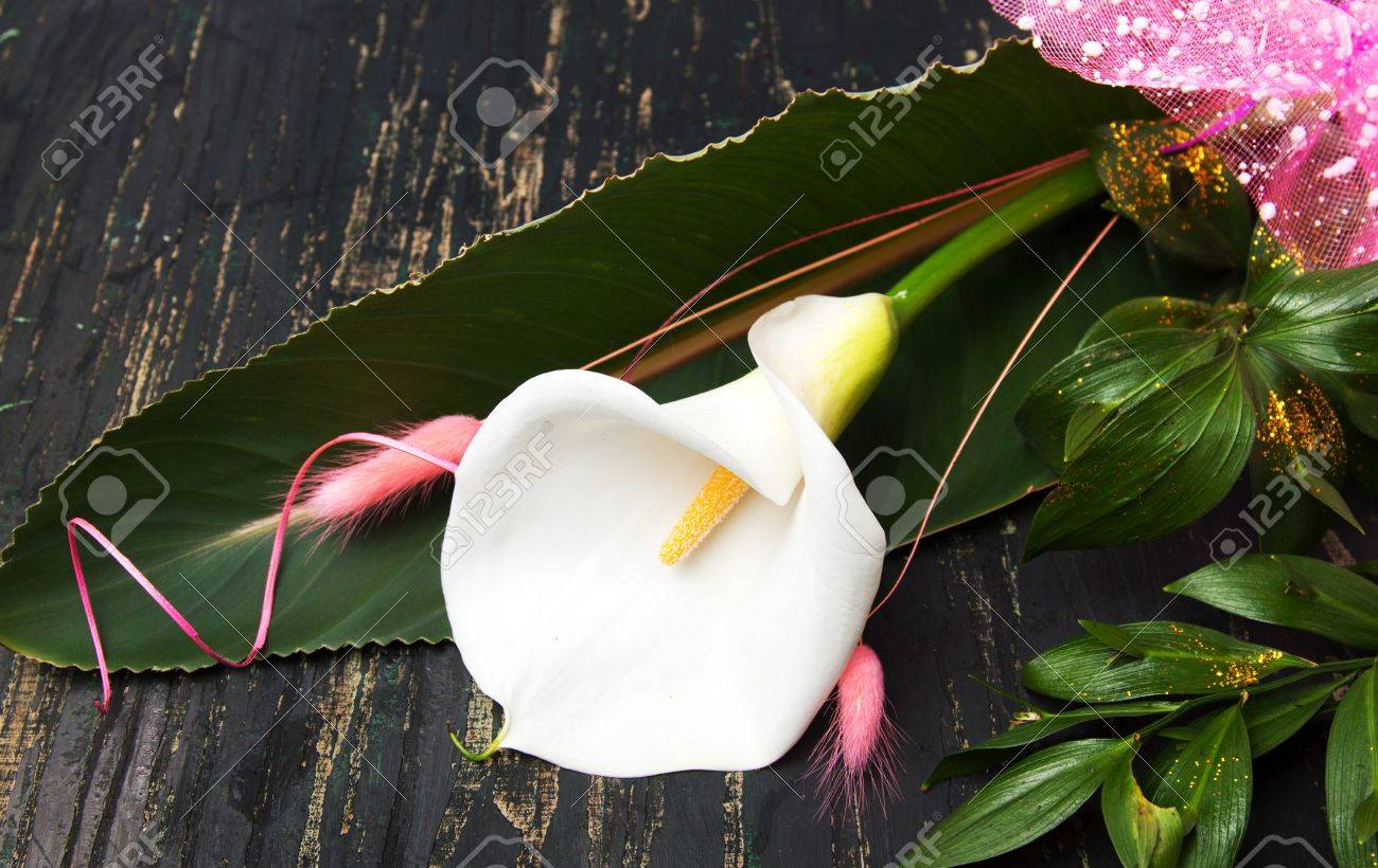 Calla Lily Flower Decorated Bouquet On A Table Stock Photo Picture