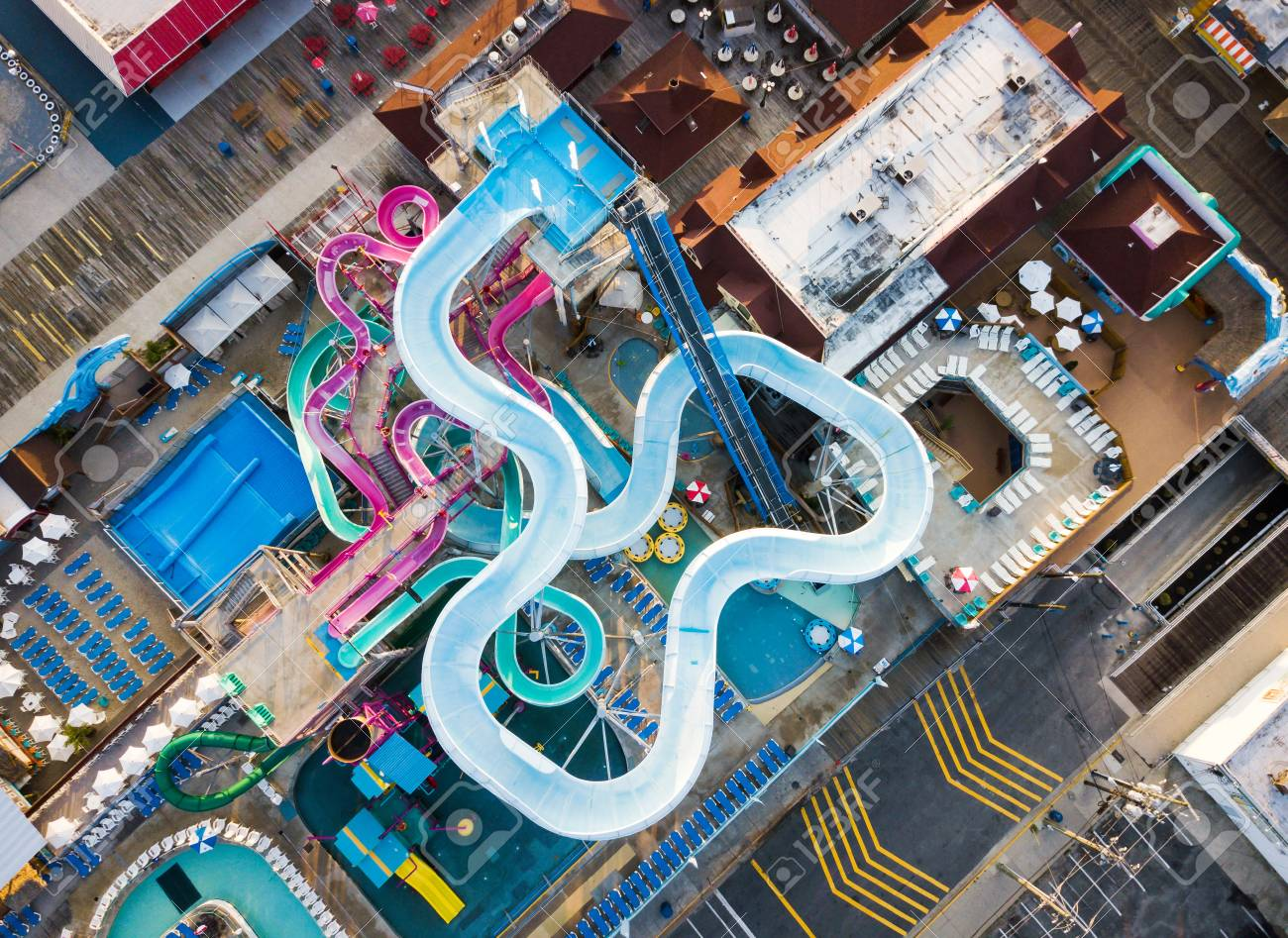 Water Park Slides Aerial Shot In The Morning With No People Stock