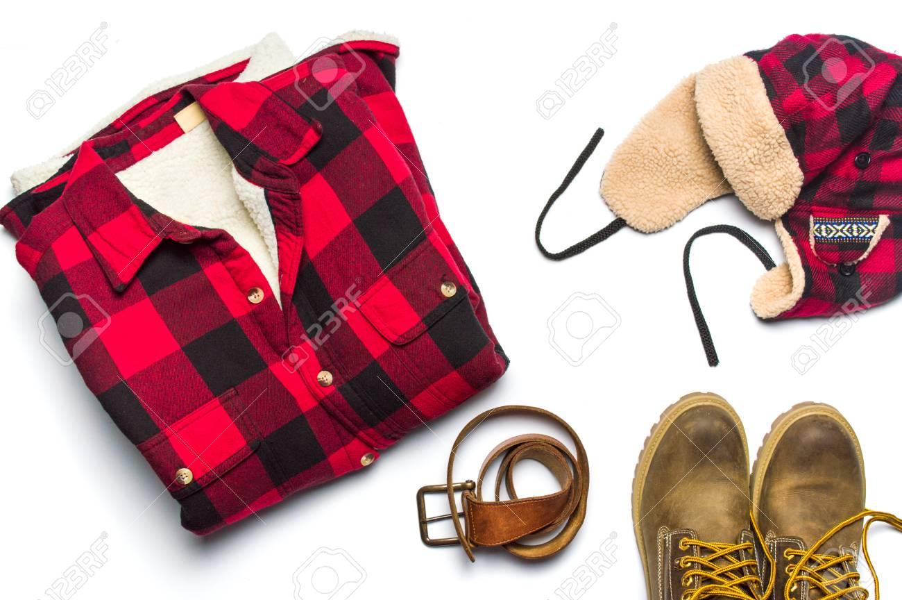 男性ファッション小物フラット レイアウトの分離白冬