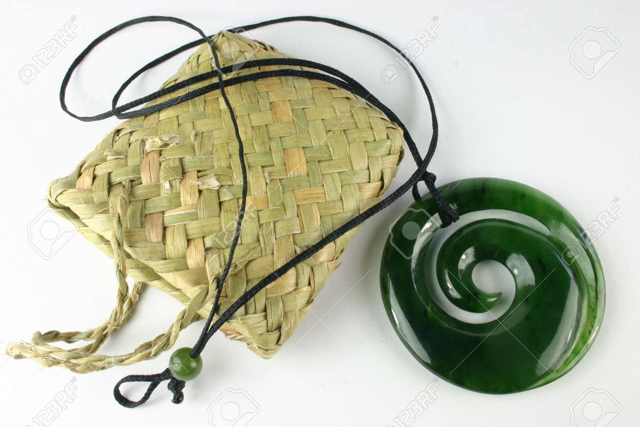Special carved maori nephrite jade pounamu pendant from new special carved maori nephrite jade pounamu pendant from new zealand with woven kit bag aloadofball Image collections