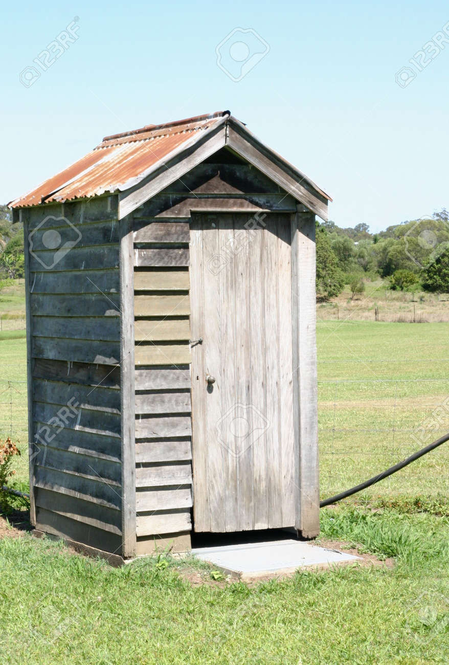 Stock Photo Old Wooden Outhouse Toilet Building In Country