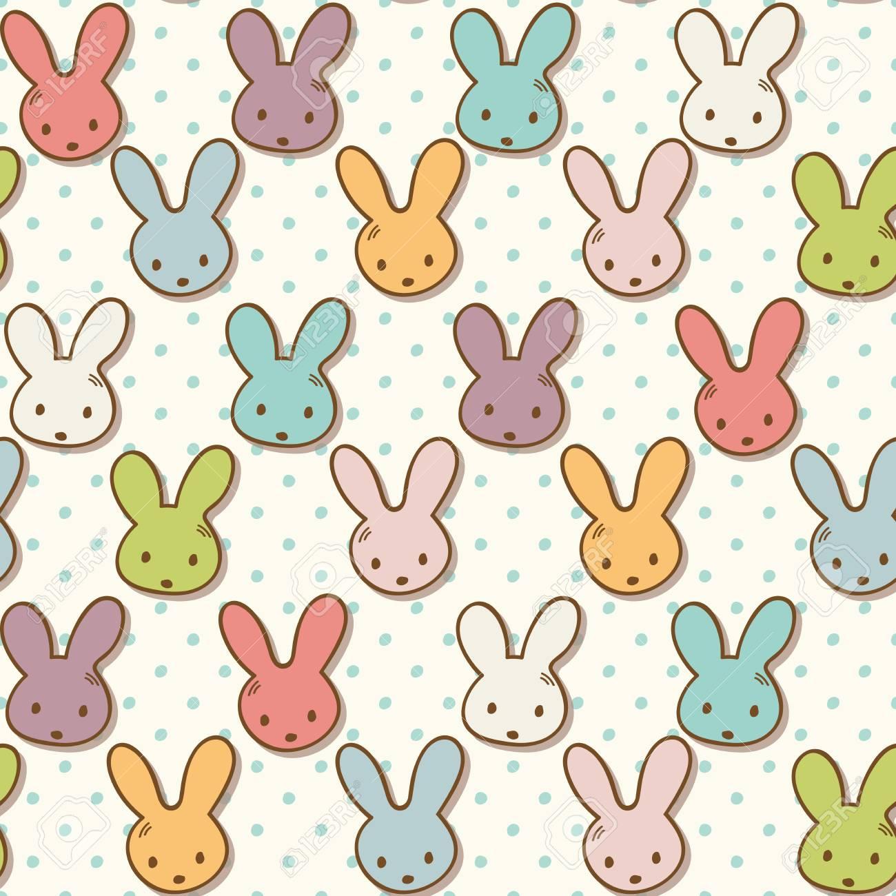 Modelo Inconsútil Con Los Conejos Lindos. Fondo Colorido Del ...