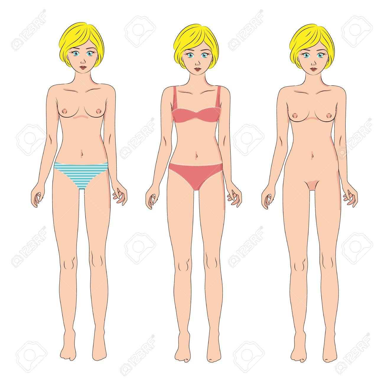 DesnudoPie En Ropa Mujeres Hermosas CuerpoFrenteAislado Vectores Baño Conjunto BlancoCuerpo El InteriorTrajes Tres De Todo La Y 4RAqj35L
