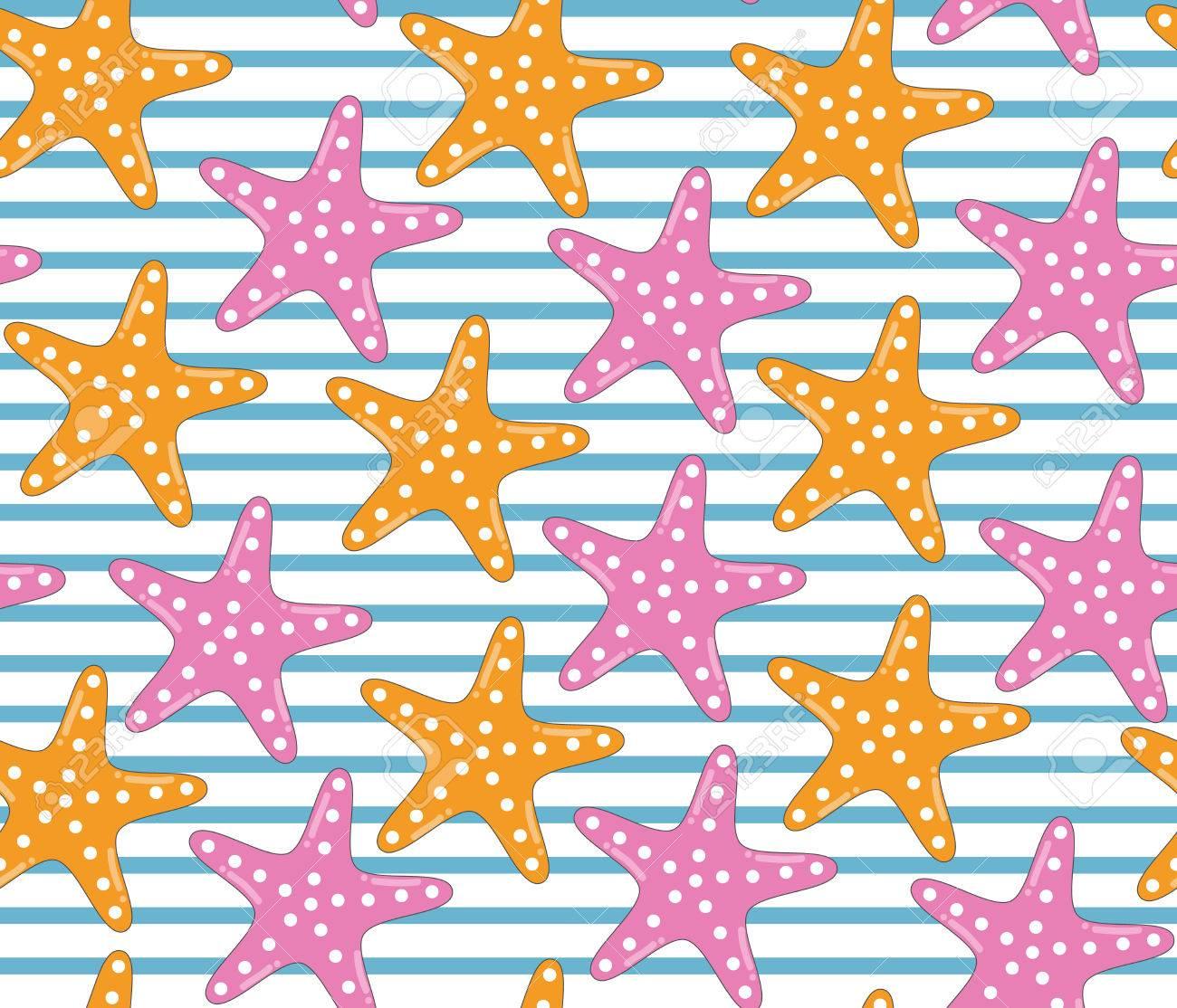 Motif étoile De Mer Coloré Avec Des Rayures Style De Bande Dessinée