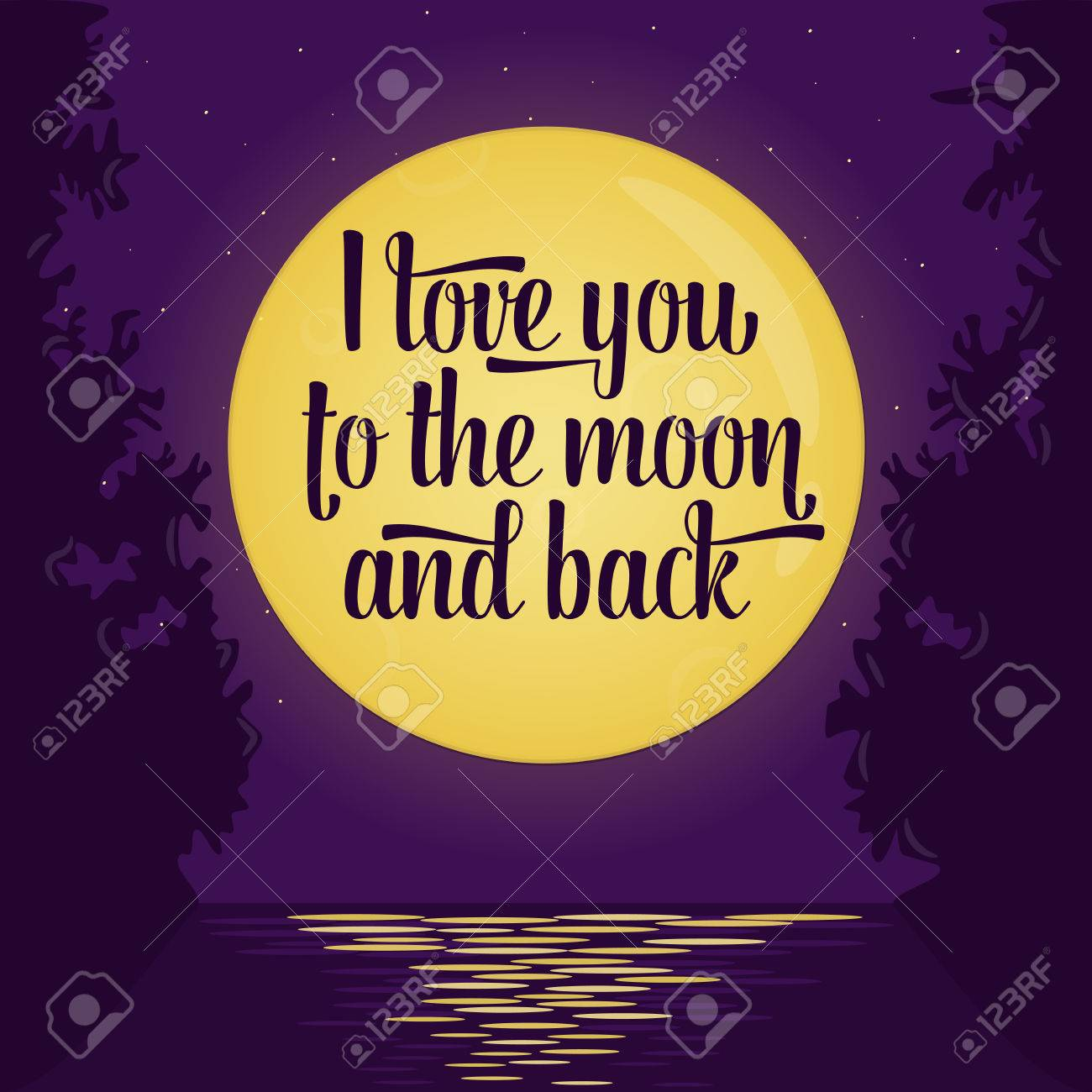 Lettering Quote Saying I Love You To The Moon And Backfull