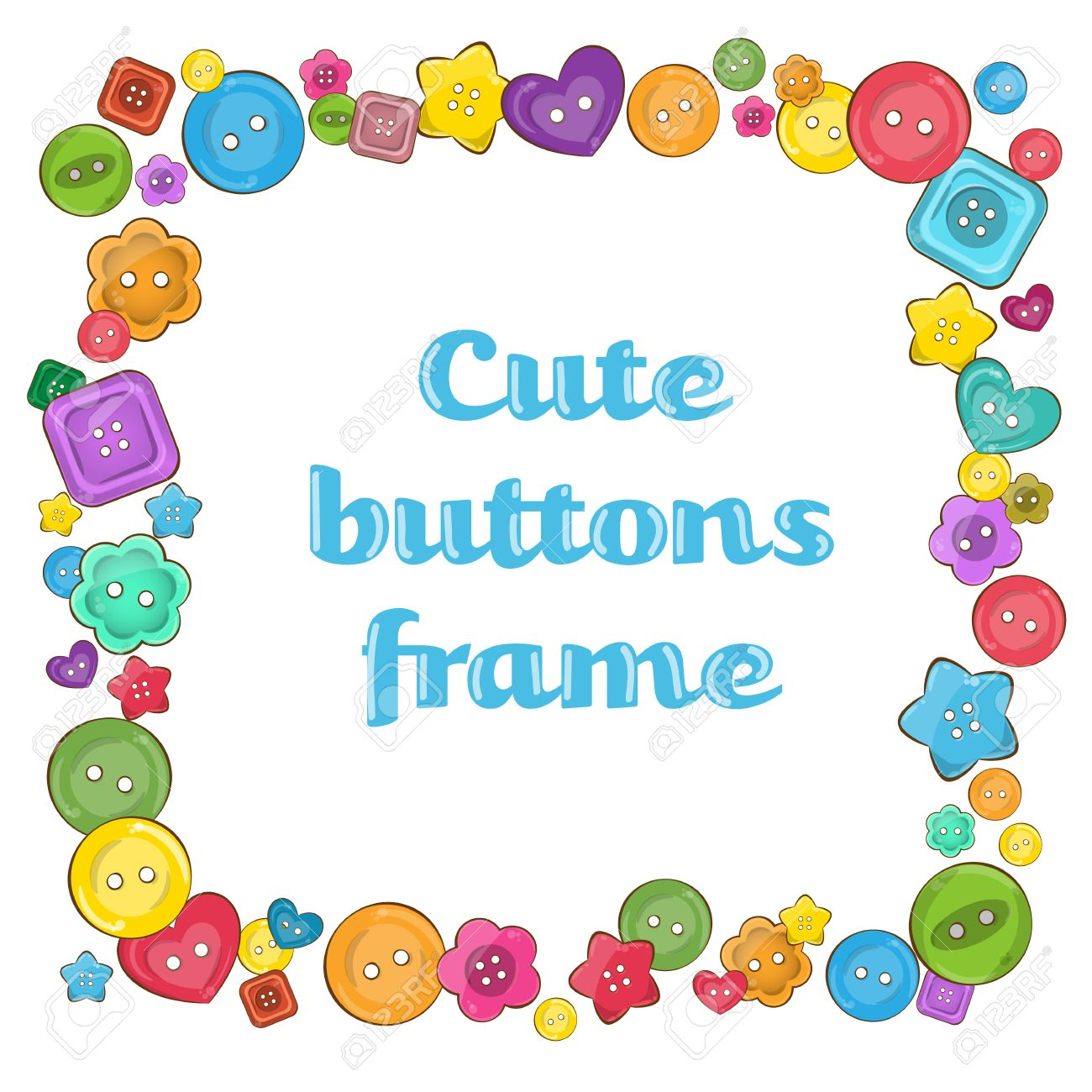 18102d2501 Colorful rectangle vector frame made from assorted sewing buttons. Different  shapes of buttons  round