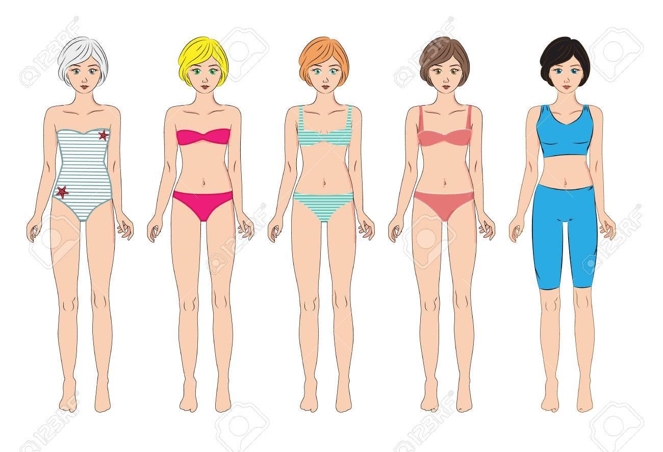 220da8ce3944 Conjunto de vectores de 5 mujeres en traje de baño variada, ropa deportiva  y ropa interior. De pie todo el cuerpo, frente, aislado en blanco. cuerpo  ...