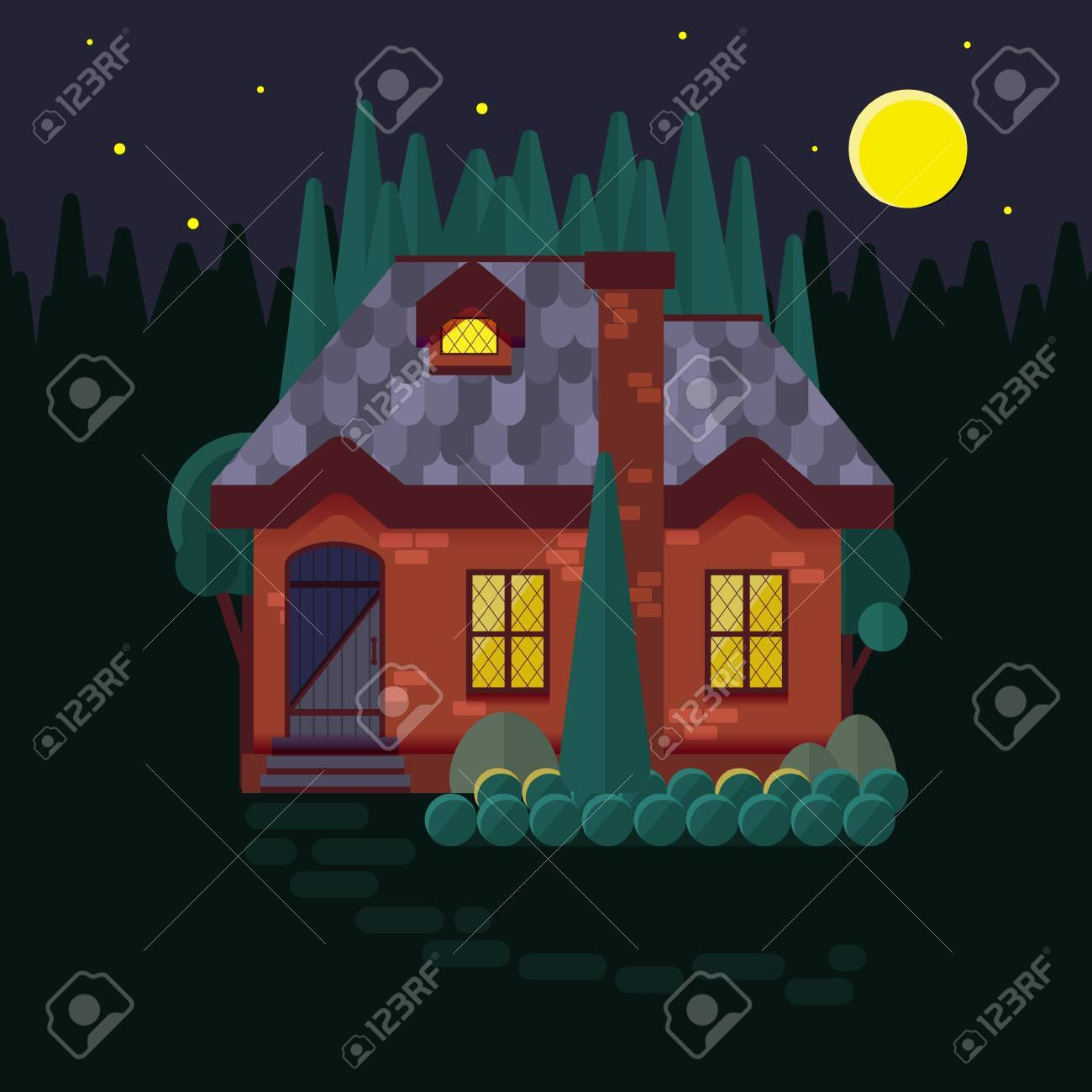 The Cottage In Woods Flat Style Night Light Burning Window