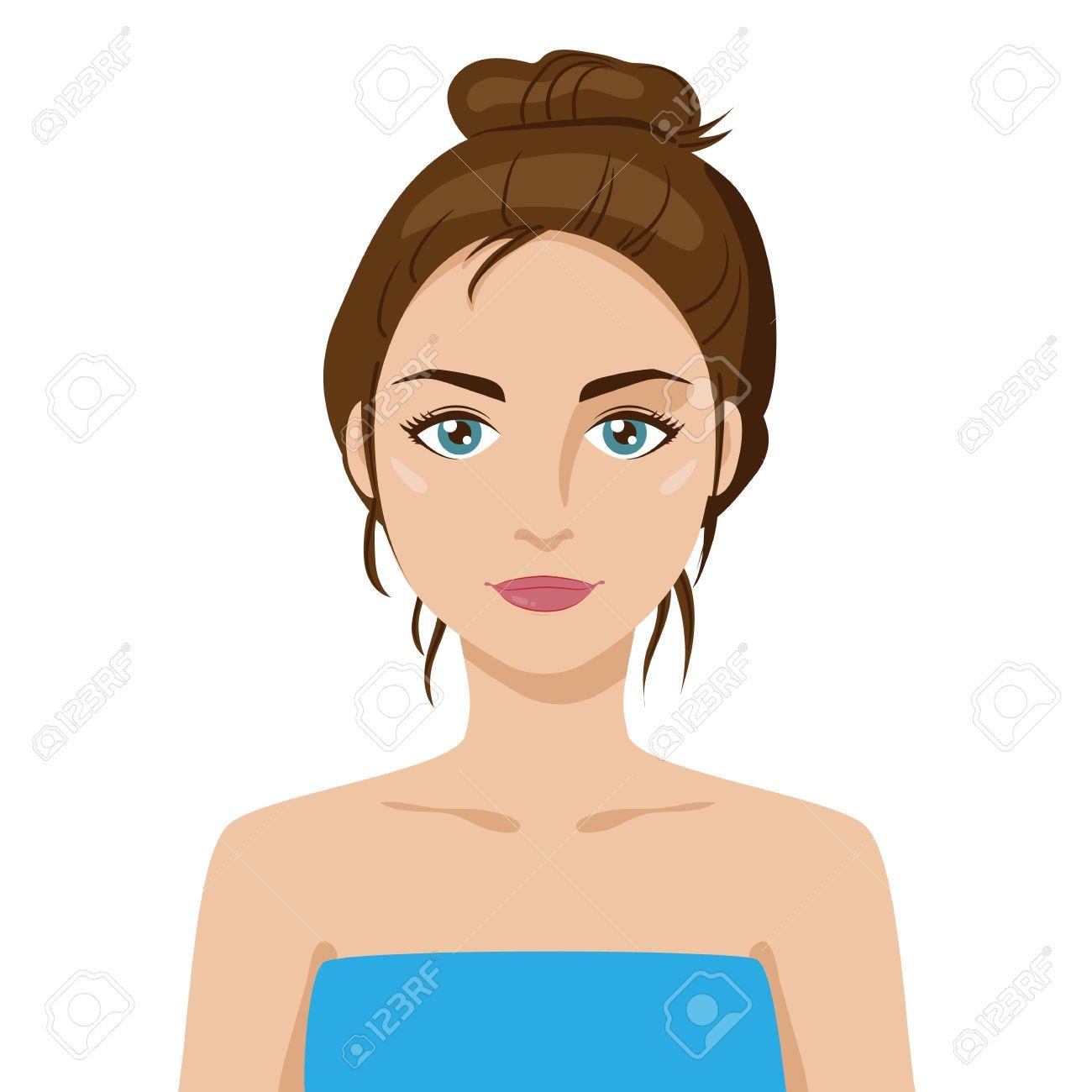 Beautiful Friendly Young Girl With Hair Bun Dark Hair Cartoon Royalty Free Cliparts Vectors And Stock Illustration Image 61116582