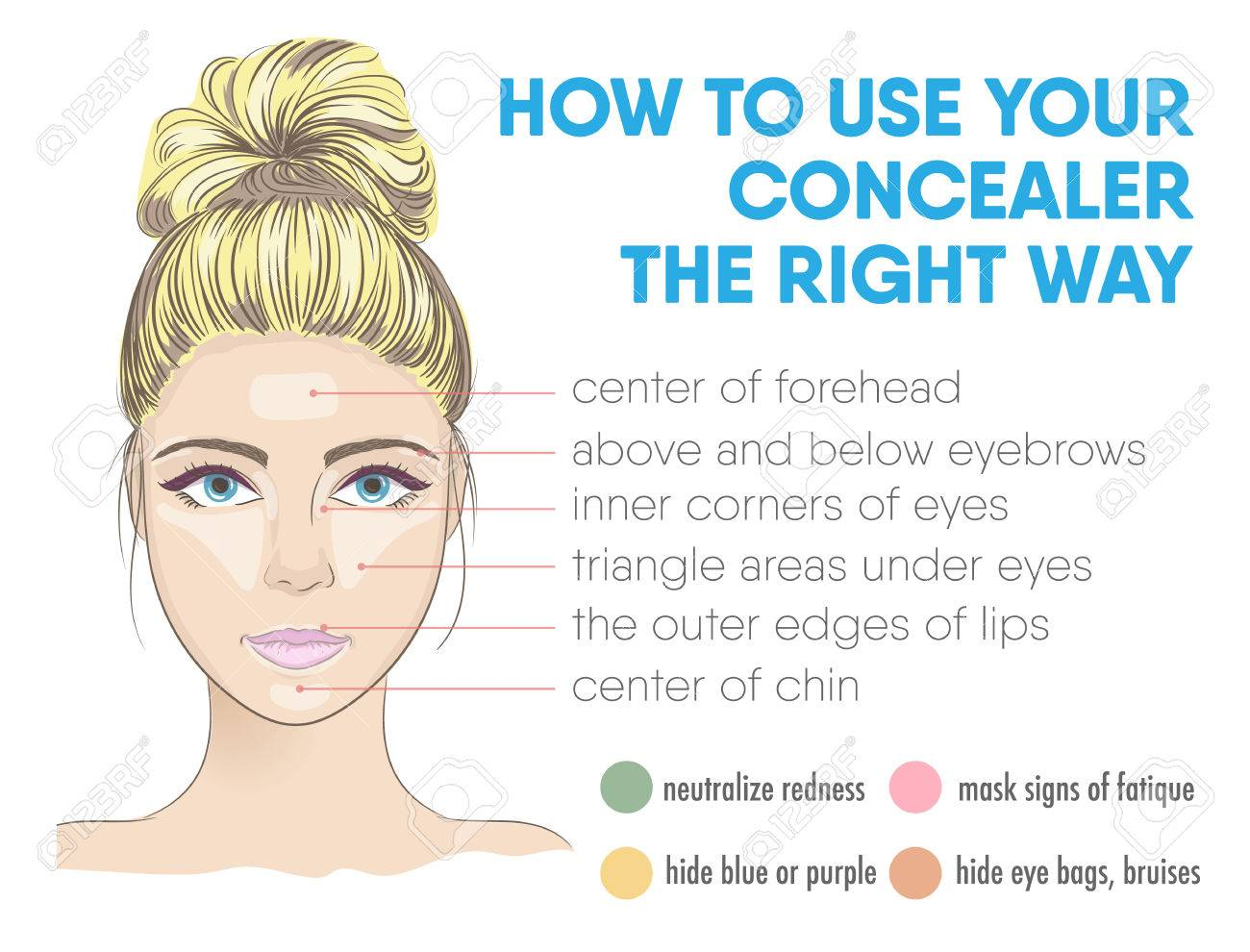 How to use your concealer the right way infographic. Vector illustration with makeup and beauty