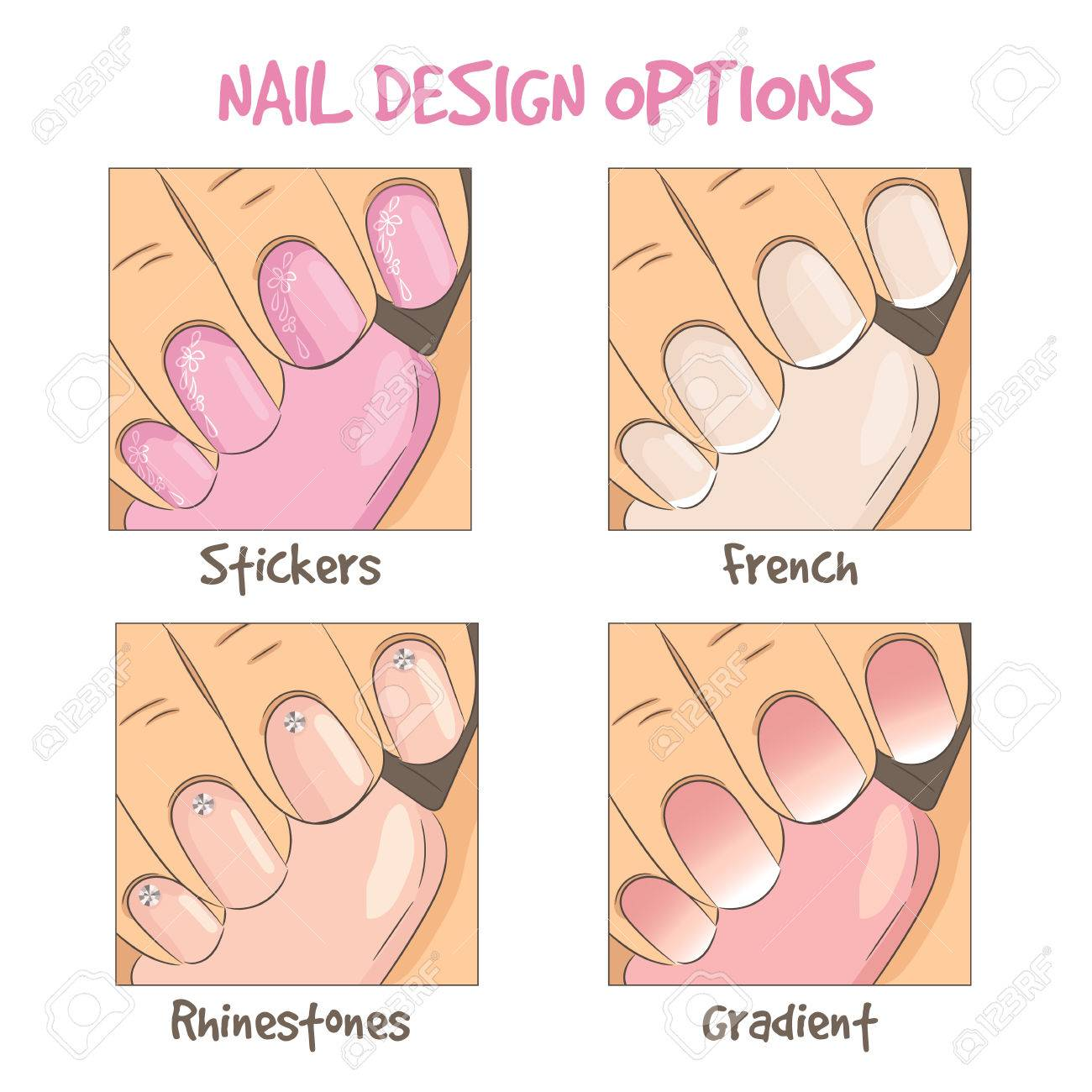 Nail Design Options. French Manicure, Rhinestones Decoration ...