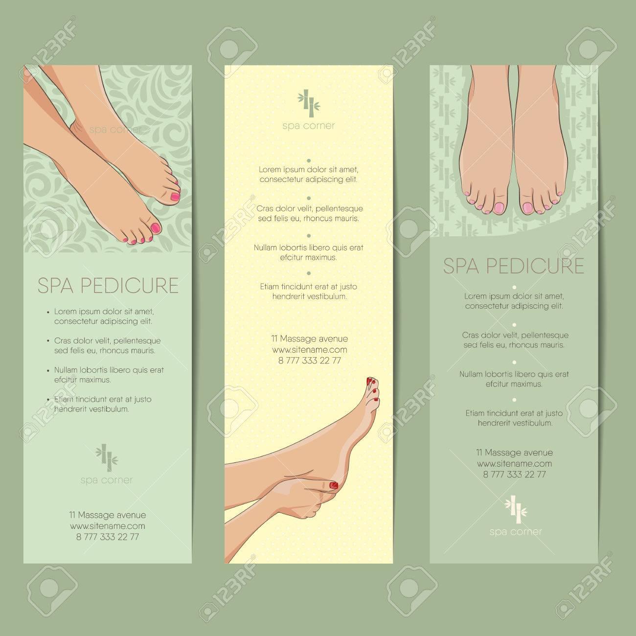 set of vertical banner coupon templates spa procedures pedicure manicure concept