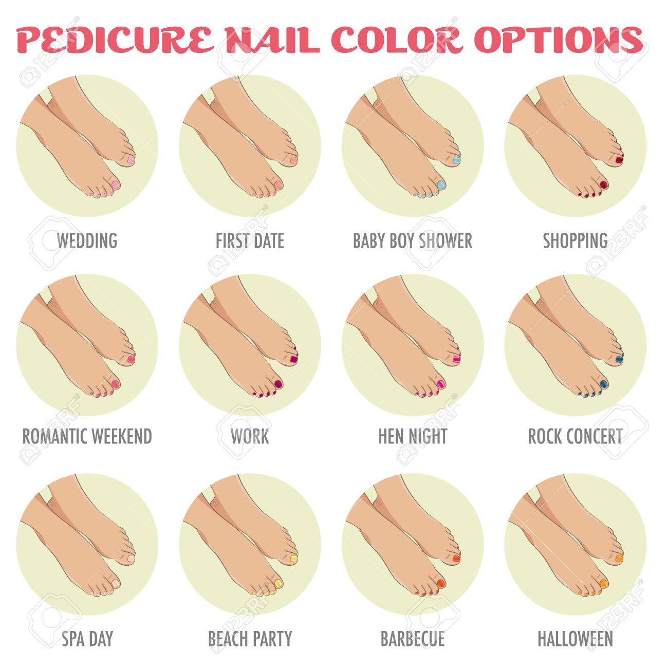 Pedicure Nail Color Options. Infographic For Beauty Salon Showing ...