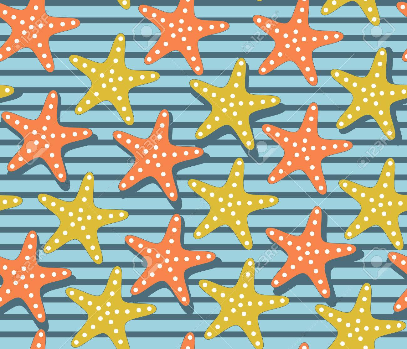 Papier Peint Jaune Moutarde motif coloré avec des rayures nautiques et des étoiles de mer. palette  d'été lumineuse pour le textile, le scrapbooking, le papier peint et les  sacs.