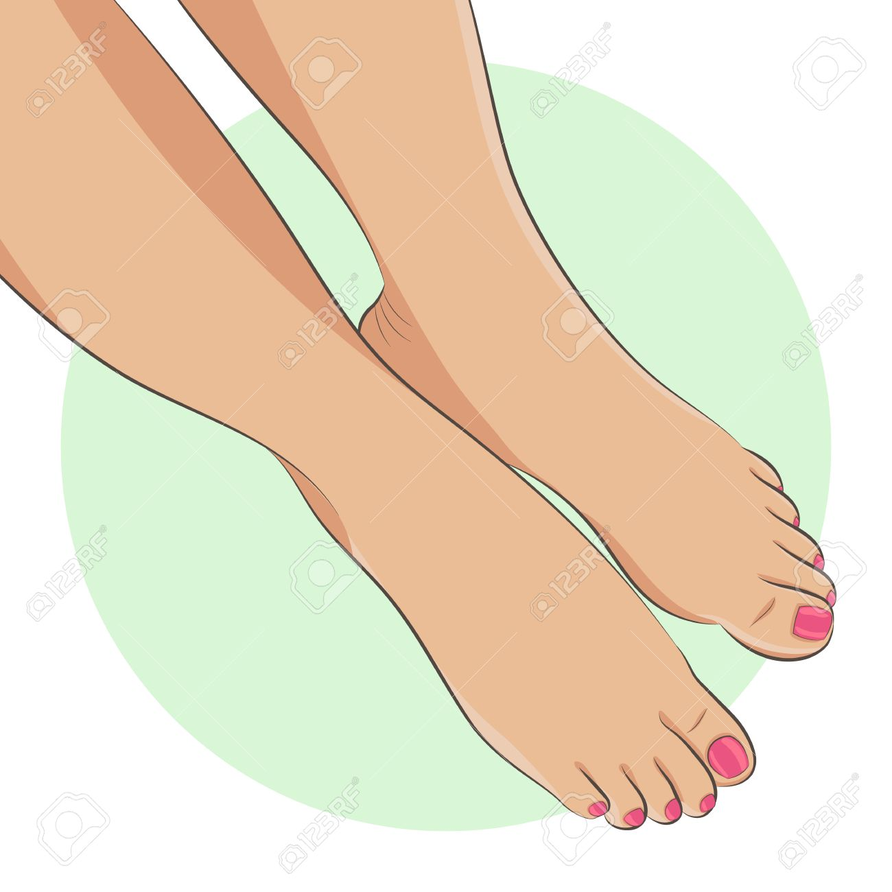 Bare Female Feet With Pedicure, Pink Toenails. Front View, Close Up. Foot