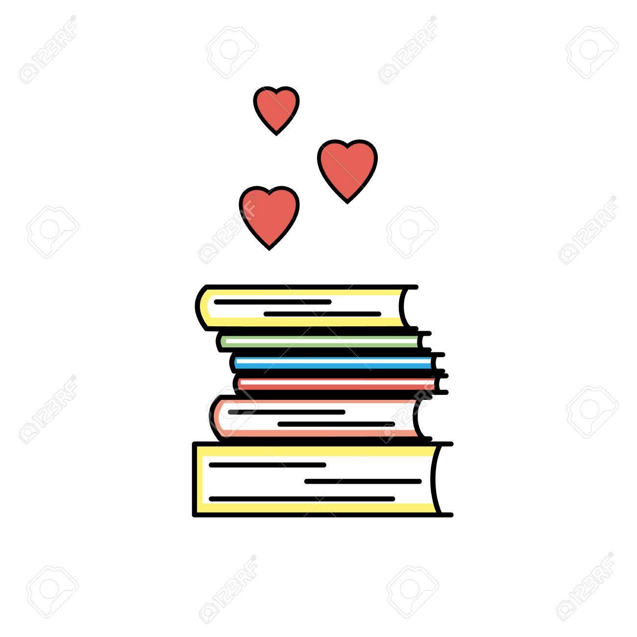 Icone D Amour Livre Couleur Isole Signe Lineaire Nous Aimons Les Symboles De Livres Pour Les Magasins Les Bibliotheques Et Les Collections J Aime