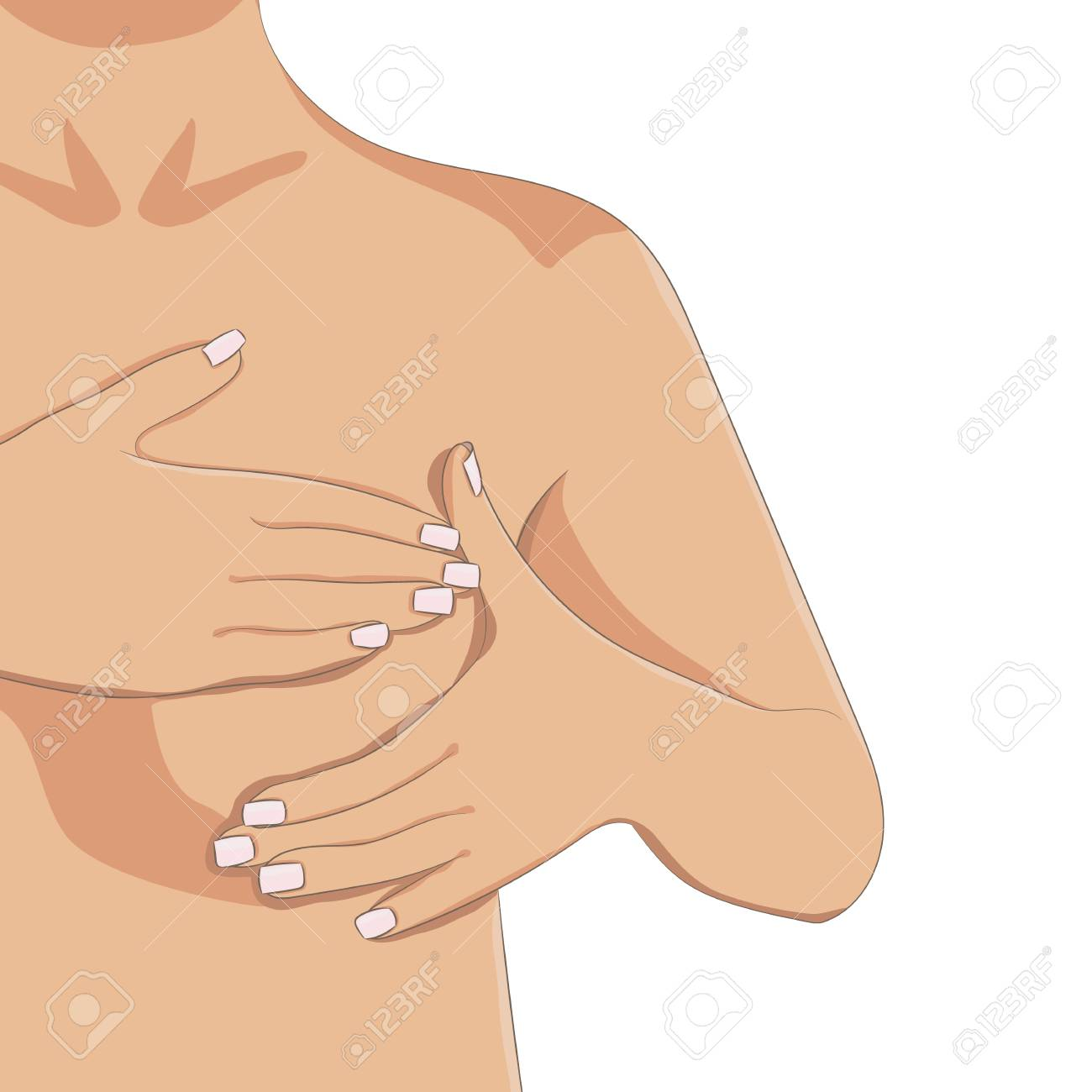 Hände, Die Monatsbrust-Selbstuntersuchung Durchführen. Weibliche ...