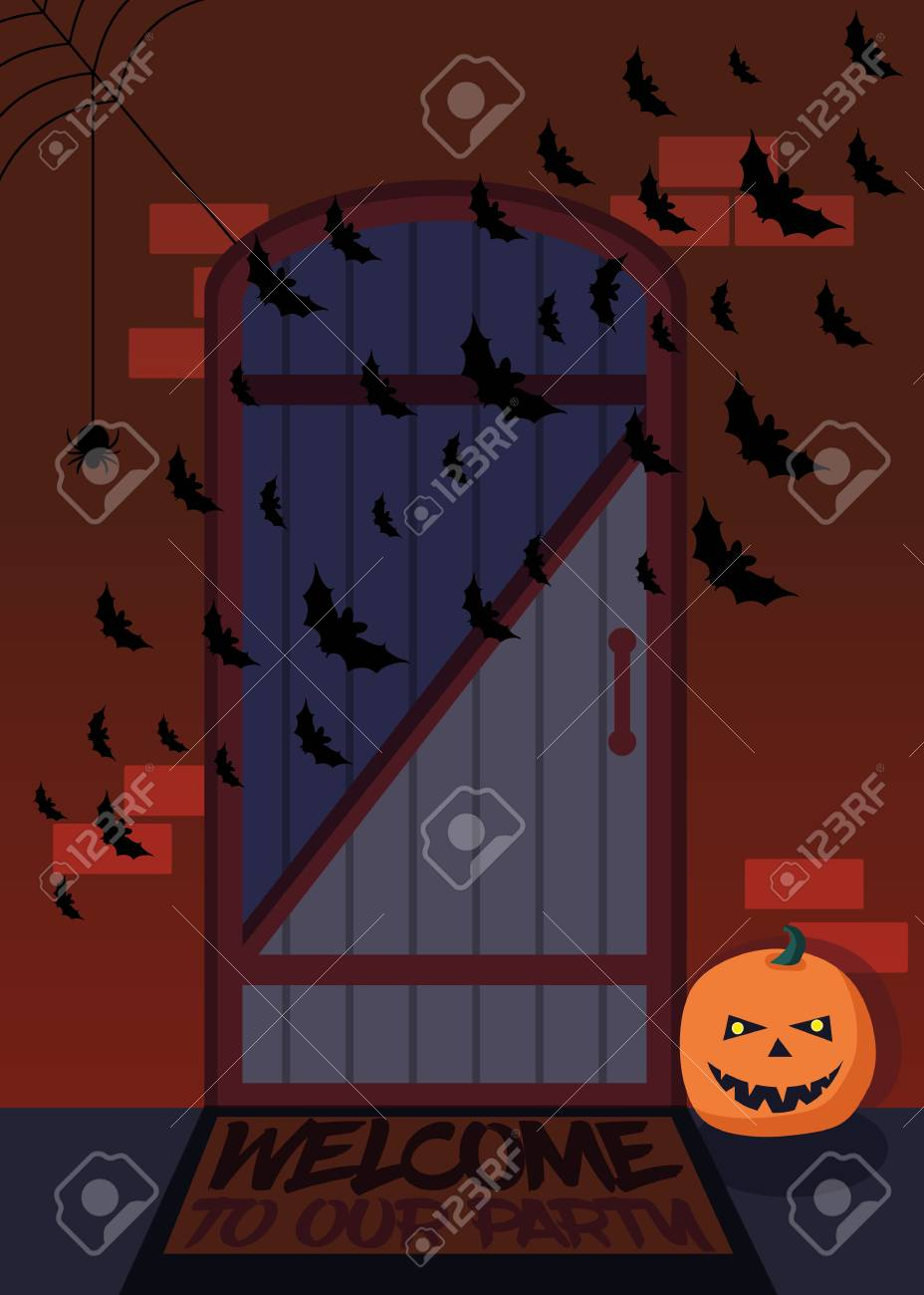 The Entrance Of The House With Bats And Pumpkins Decorated For