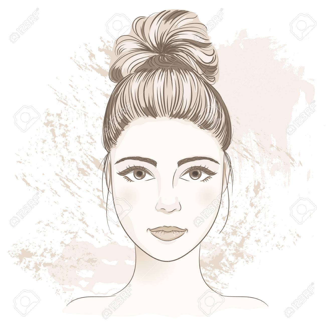 Young woman face digital monochrome sketch portrait of beautiful young woman face digital monochrome sketch portrait of beautiful girl with fancy hair bun pronofoot35fo Gallery