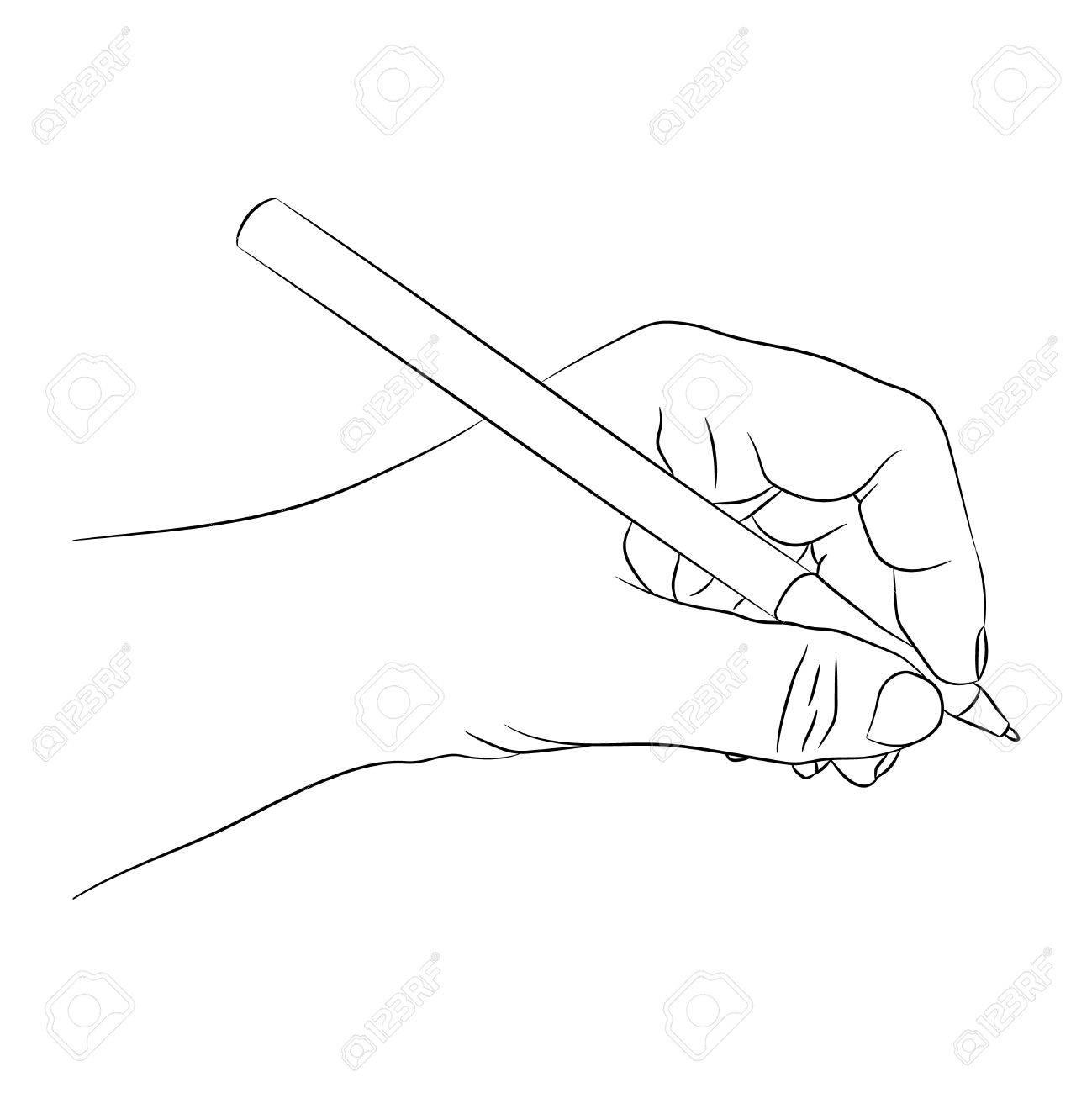 Linkshänder Schreiben Oder Etwas Zeichnen. Linkes Personenkonzept ...
