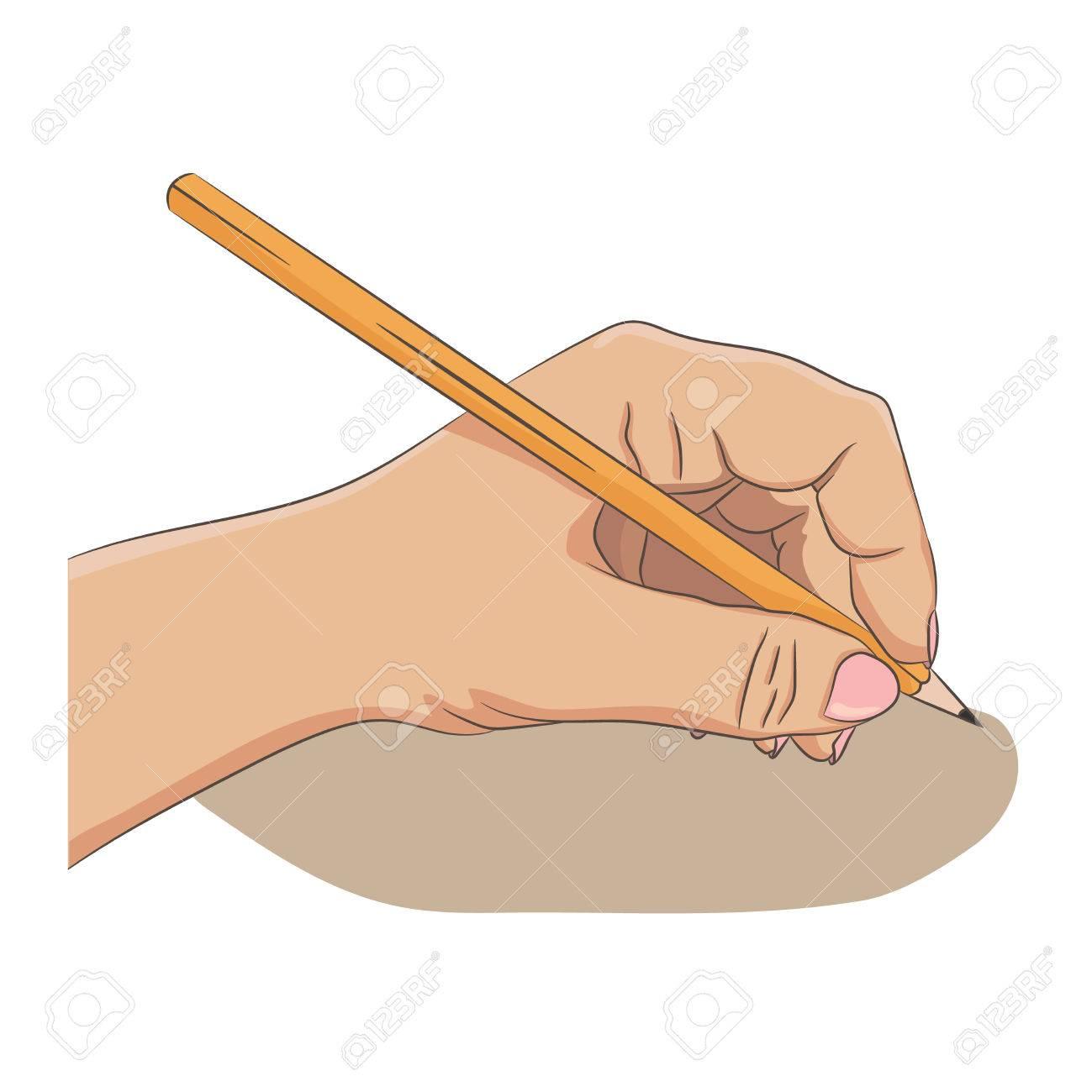 Linkshänder Schreiben Oder Etwas Zeichnen. Lefty Person Konzept ...