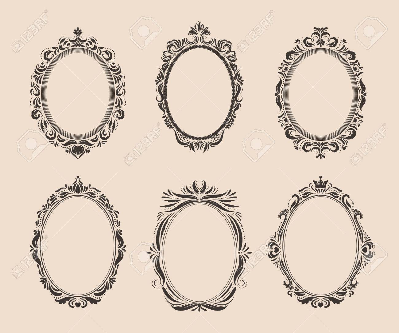 Set Of Decorative Oval Vintage Frames And Borders Victorian
