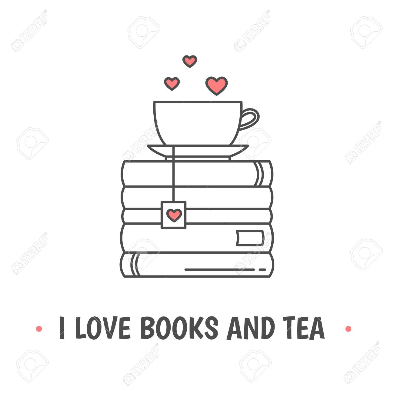 Pile of books and a mug with heart symbols. Quote «I love books and tea». I love reading concept. Line icon for libraries, stores, festivals, fairs and schools. Vector illustration. - 114917600