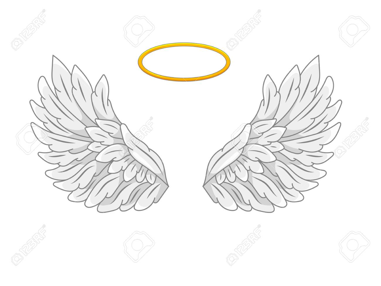 234bd8132 A pair of wide spread angel wings with golden halo or nimbus. Grey and white