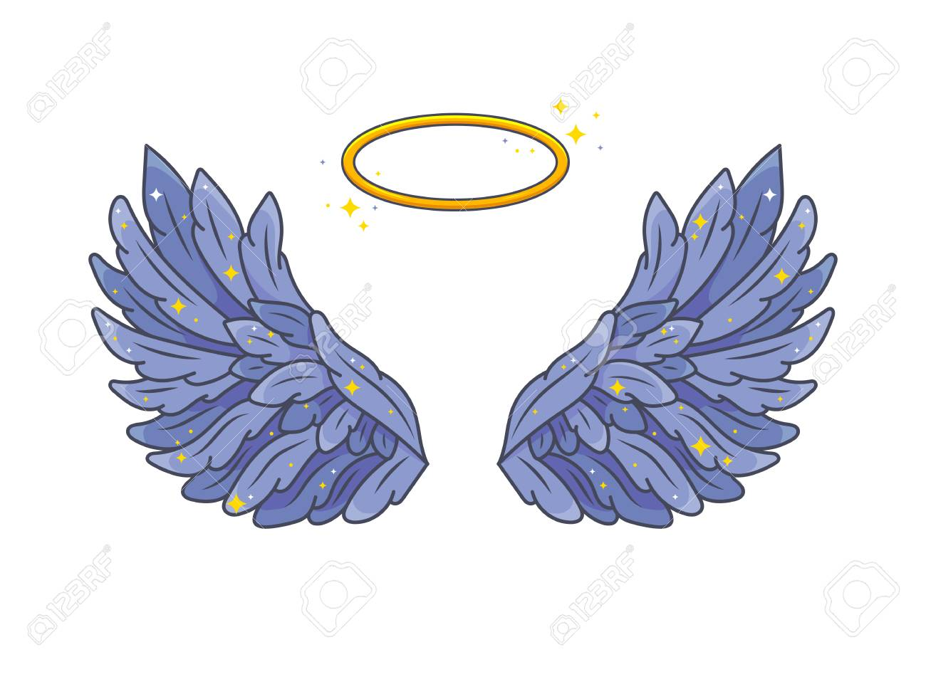 67a136da6 A pair of wide spread angel wings with golden halo or nimbus. Deep violet  feathers