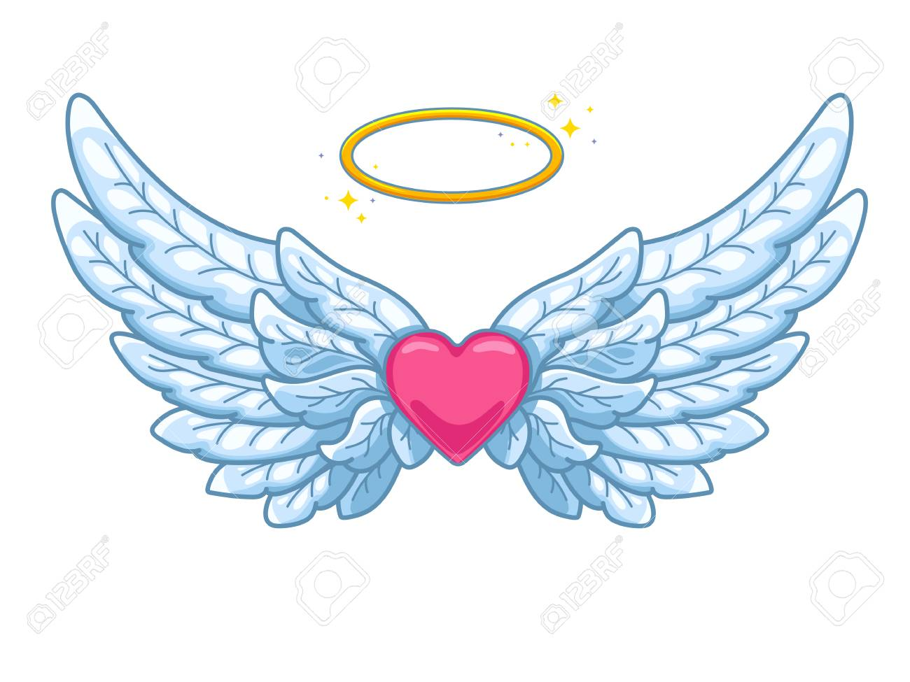 8775a41c7 A pair of wide spread angel wings with golden halo or nimbus and red heart  in the middle. Blue and white feathers. Love and Valentine day symbol.