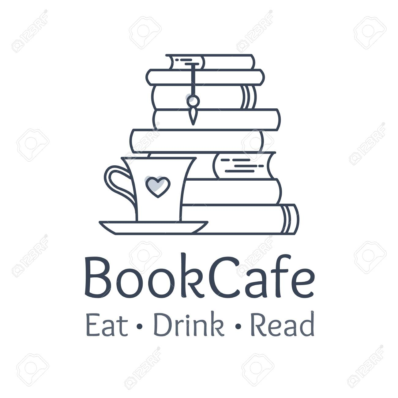 Bookstore And Cafe Visual Identity Logo Element Flat Line Style
