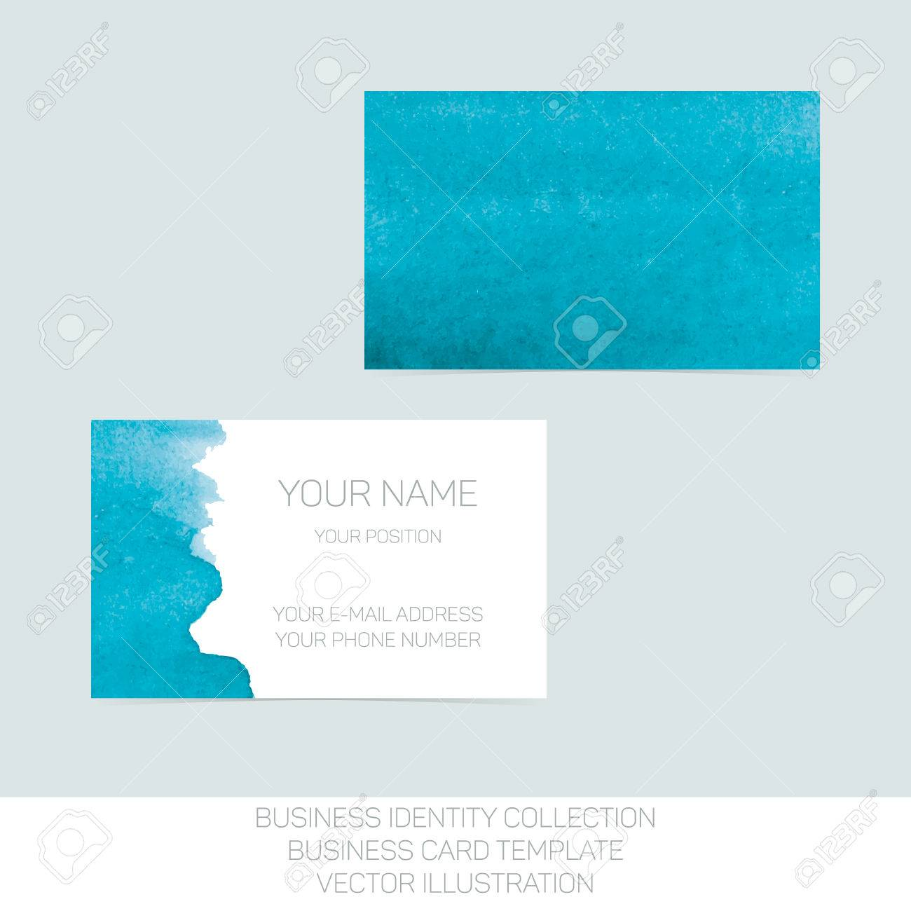 Business identity collection turquoise teal watercolor front business identity collection turquoise teal watercolor front and back sides for business card template reheart Images