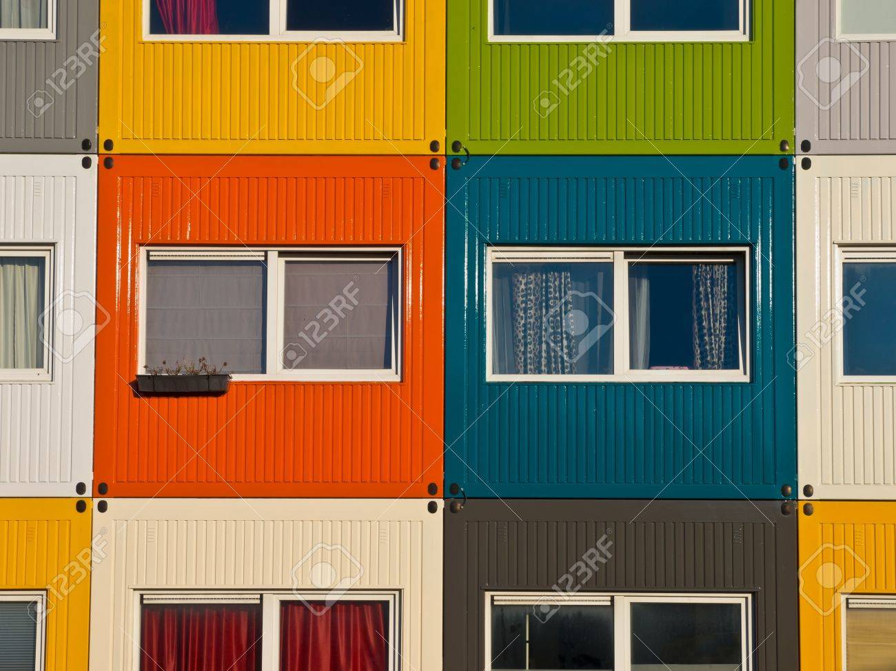 colorful cargo containers used as home by students to  solve housing problem Stock Photo - 11334398