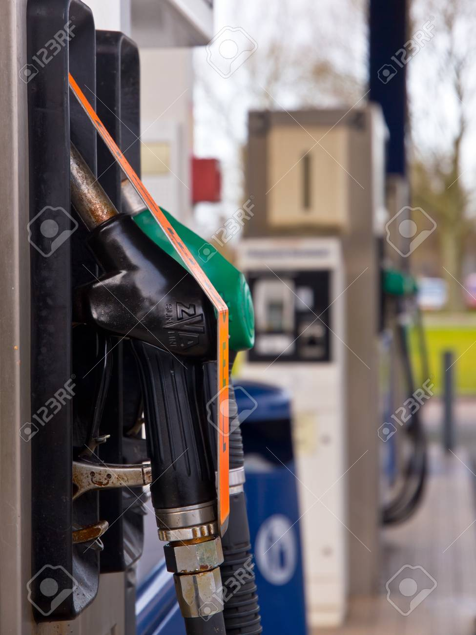 Fuel nozzles in a gas station Stock Photo - 12285716