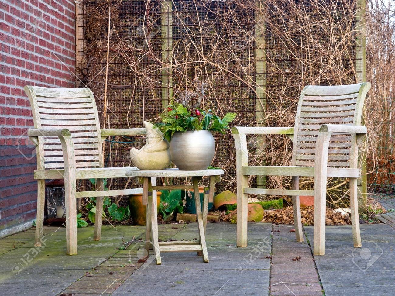 Wooden garden set in winter Stock Photo - 12285646