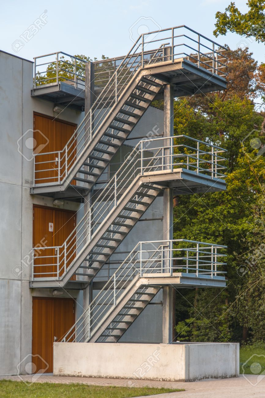 Fire Escape Stairs On The Exterior Of A Building Stock Photo   25227692