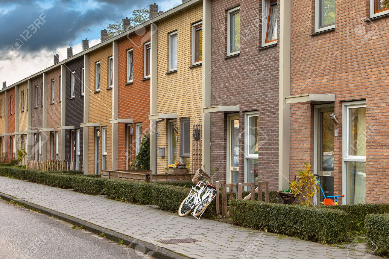 Modern Terra Colored Middle Class Terraced Houses in the Netherlands, Europe - 39319653