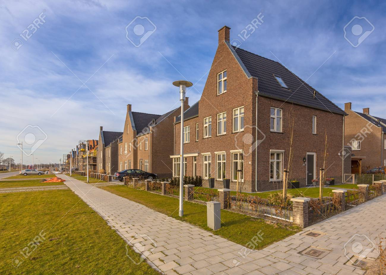 New completed young family houses on a residetial area in Randstad, Netherlands - 50767517