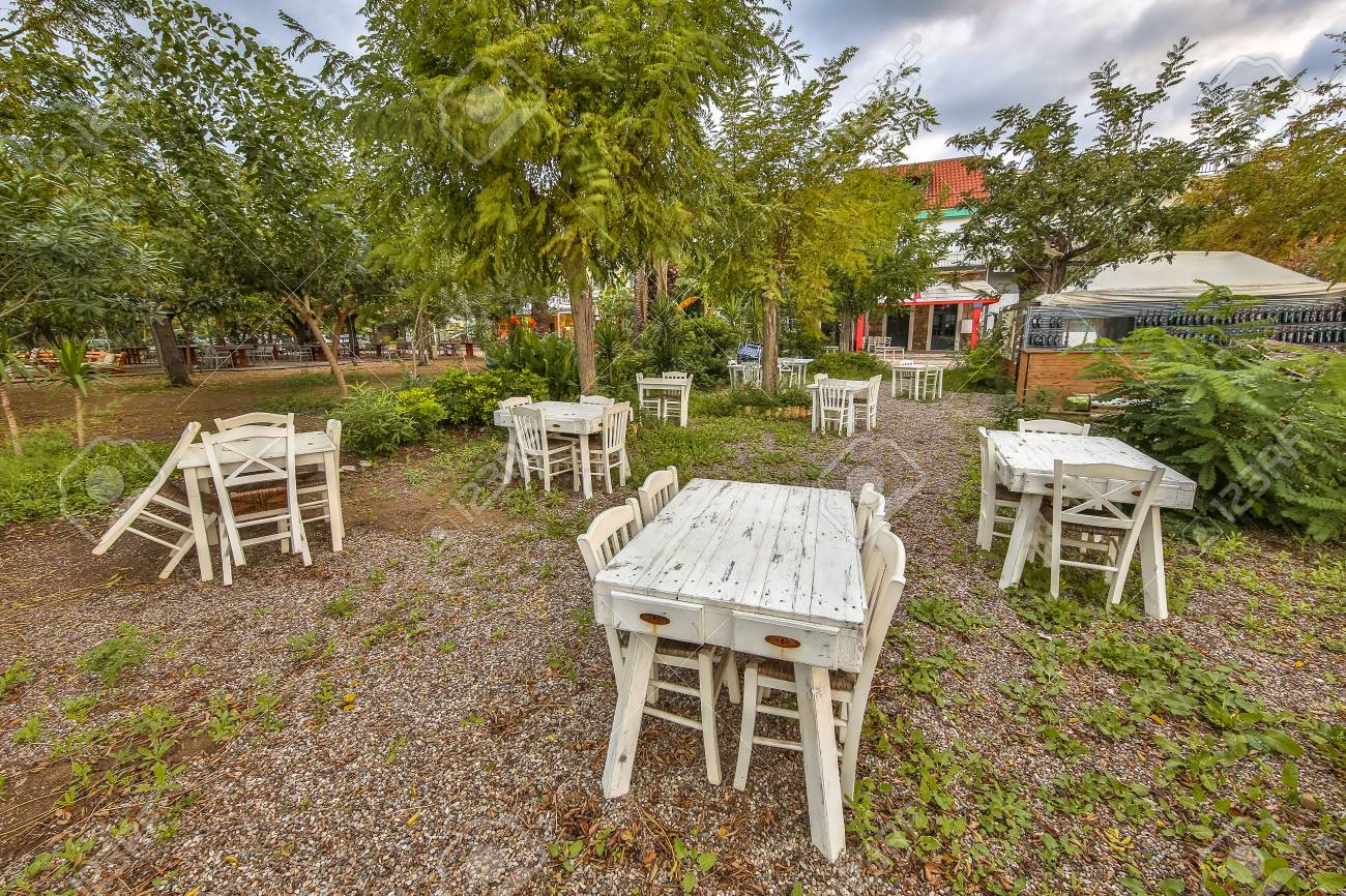 Outdoor Restaurant Terrace Between Trees On Beach On Peninsula Stock Photo Picture And Royalty Free Image Image 104549937