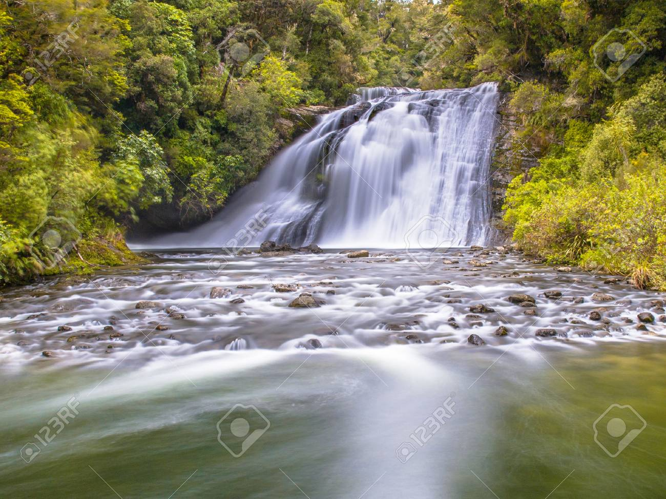 Long exposure image of a waterfall in lush rainforest of Te Urewera National Park in New Zealand - 110766220