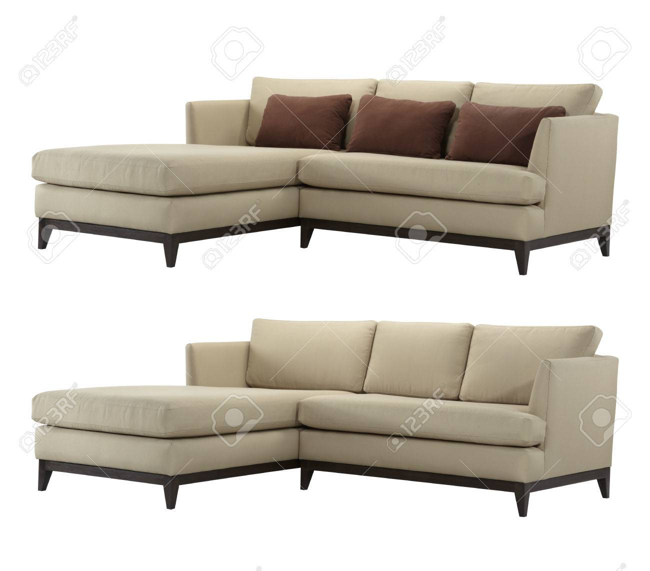 L-shaped sofa, with and without pillows isolated on white background.