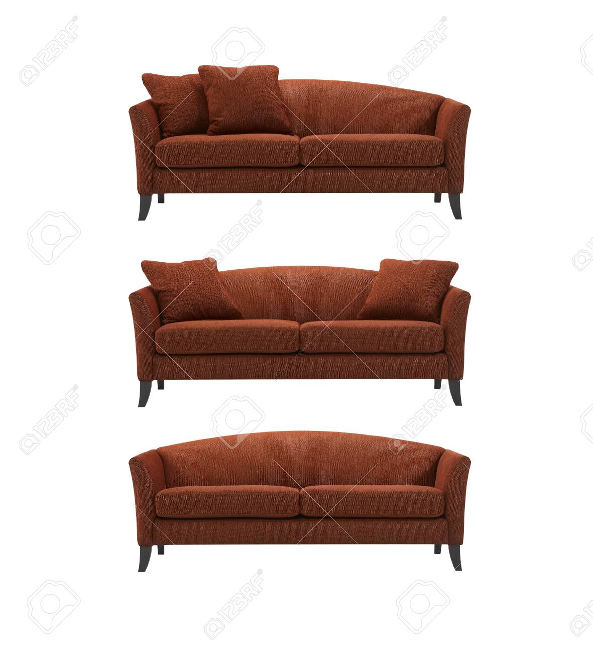Red Curved Sofa, With And Without Pillows, Isolated On White.. Stock ...
