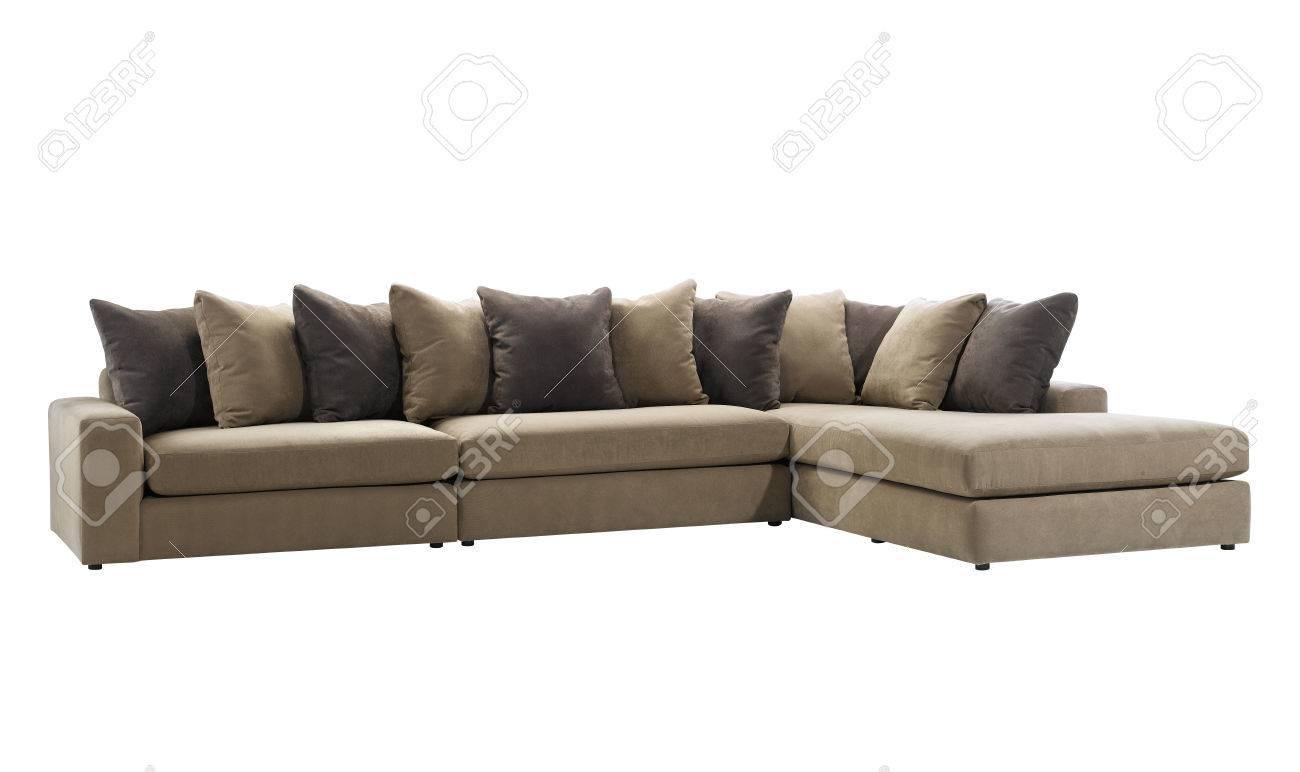 Große Und Lange L Förmigen Sofa Mit Auf Weißem Hintergrund Kissen