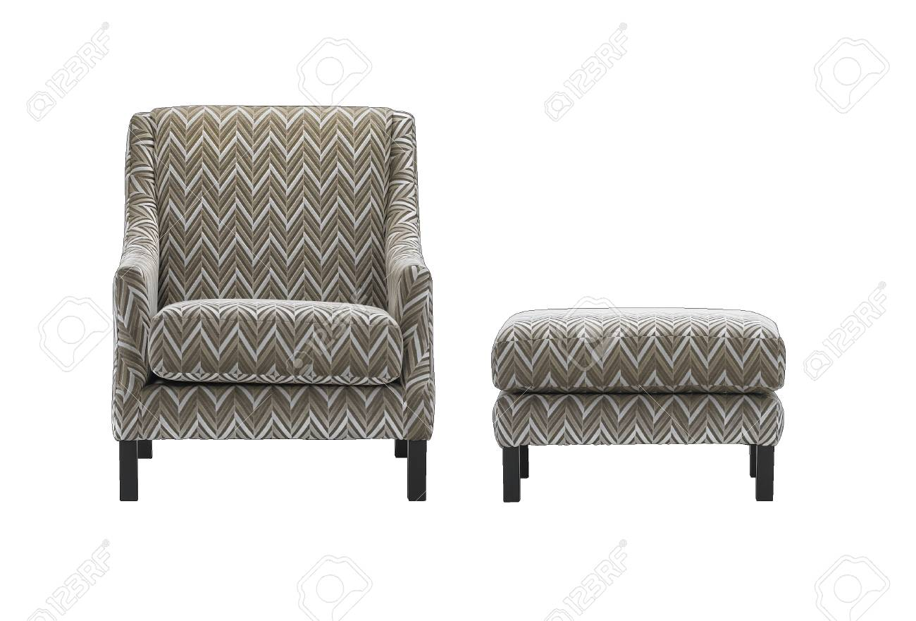photo armchair and stool with zigzag pattern isolated with clipping mask