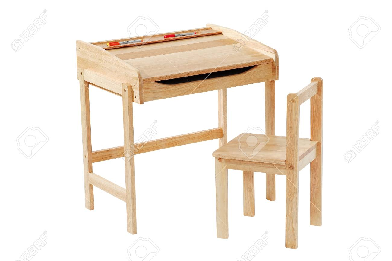 Kid Study Desk And Chair Isolated With Clipping Path. Stock Photo   97986442