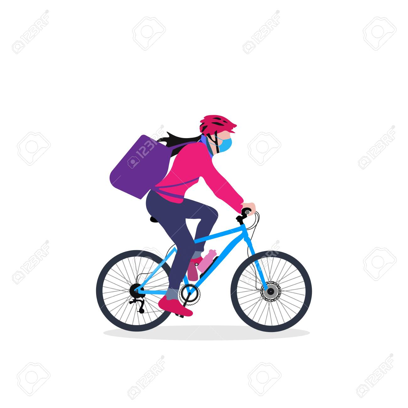 A delivery girl on cycle with backpack driving through an urban area vector illustration - 151006932