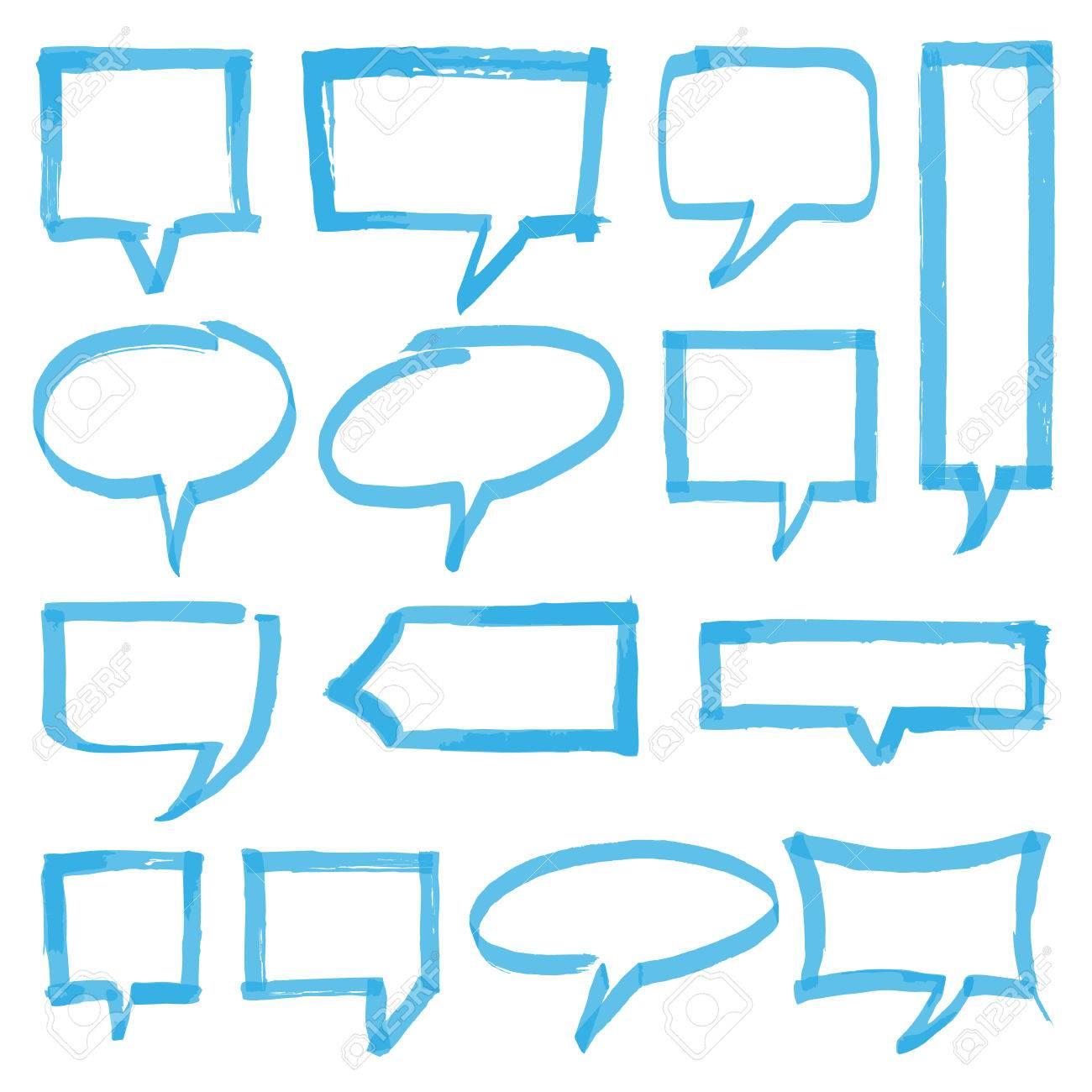 Set Hand Gezeichnete Textmarker Sprechblasen, Markierungen Und ...