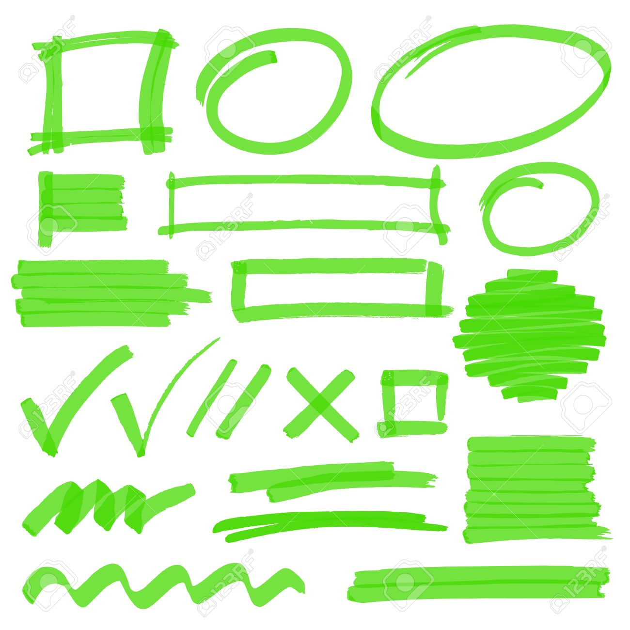 Set Hand Gezeichnete Textmarker-Design-Elemente, Noten, Streifen Und ...